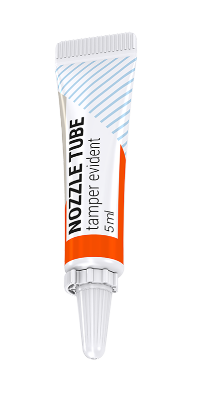 Tamper evident nozle tubes with tear off band web
